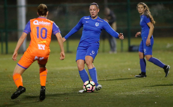 Sharon Zagar of KRC Genk Ladies - Chloe van de Velde of KAA Gent Ladies