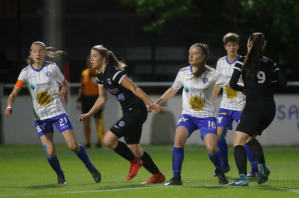 Gent - 27-04-2018 - KAA Gent Ladies - KRC Genk Ladies - Hanne Merkelbach of KRC Genk Ladies - Romy Camps of KAA Gent Ladies