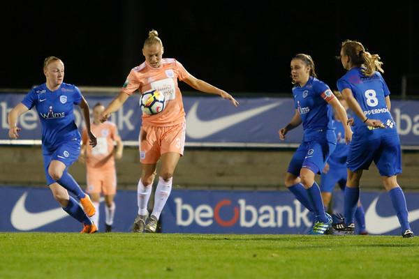 13-10-2018 - Genk - Super League - KRC Genk Ladies - RSC Anderlecht - Ella van Kerkhoven of RSC Anderlecht - Riete Loos of KRC Genk Ladies - Silke Leynen of KRC Genk Ladies