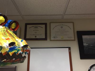 2017 01 17:   Paul's office, College, walls, artwork plus