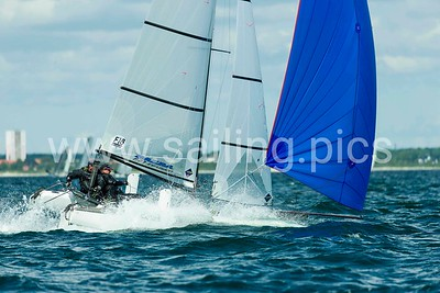 Third race day - race 7, 8 and 9 F18 Worlds 2017 - Vallensbæk Sailing Club - 13, July 2017. Photo: Mogens Hansen