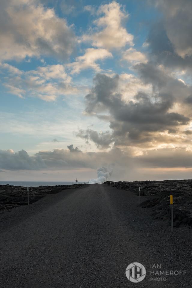 Sunset. Lava Steam. Gravel.