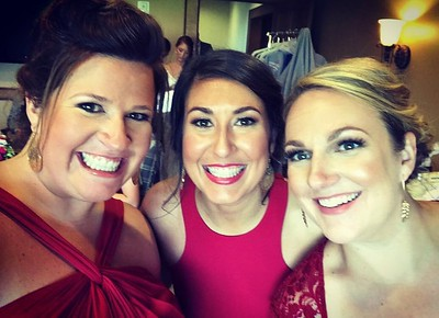 Had so much fun being bridesmaids with these two! Love you ladies!! #baresbigday #ladiesinred #brideinback