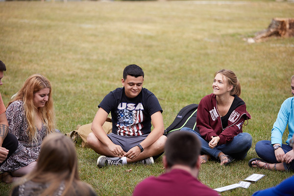 Activity; Talking; Buildings; Health Science Center; Location; Outside; People; Student Students; Seasons Weather; Fall; September; UWL UW-L UW-La Crosse University of Wisconsin-La Crosse; Brian Kumm Schaley
