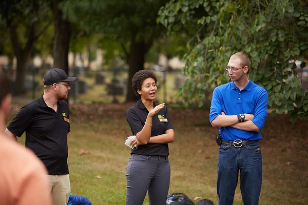 Activity; Talking; Buildings; Health Science Center; Location; Outside; People; Student Students; Seasons Weather; Fall; September; UWL UW-L UW-La Crosse University of Wisconsin-La Crosse; Brian Kumm Schaley