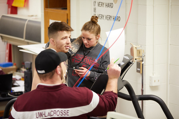 lab; EKG Stress Test ECG; Buildings; Mitchell Hall Fieldhouse; College; College of Science and Health; Location; Inside; Classroom; People; Student Students; Seasons Weather; March; UWL UW-L UW-La Crosse University of Wisconsin-La Crosse