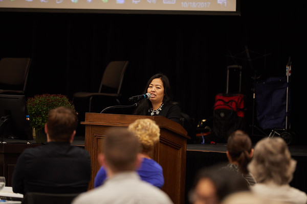 Activity; Community Service; Collaboration; Scholarship; Sue Lee and Her son Adrian were the keynote speakers. Sue is an double alum.