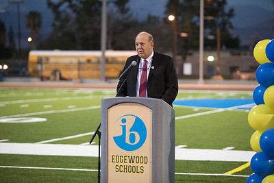 Superintendent Dr. Hinman addresses the audience and welcomes them to the Edgewood High School Track and Field Ribbon Cutting Ceremony.