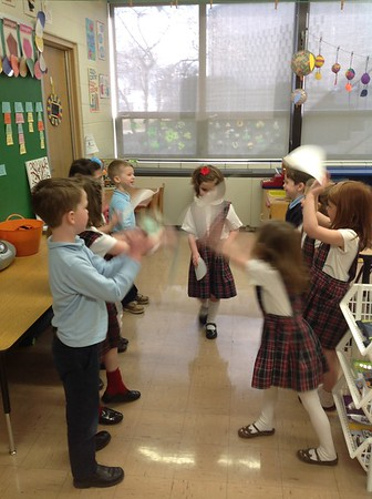 Kindergarten reinacting Jesus' Triumphant Entrance into Jerusalem