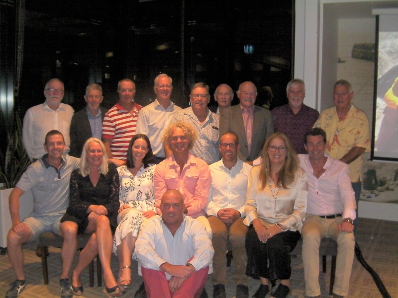 Back Row: Norm Adams, Ian Campbell, Simon Knight, Steve Reid, Yim Kay, Gus Milligan (at rear), Graham Wells, Brian Eva, Richard Fisher. Front Row: Rob Molden Kerri Hart, Sophie Riddell, Charlie Schal, Lachie Wilson, Sue Dimmick, Cameron Hunter. At Front: Nick Martin