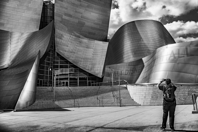 Gail snapping shots of Disney Hall