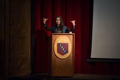 Phoebe Eng speaks during Morning Meeting