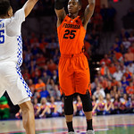 University of Florida Gators guard Keith Stone shooting and making a three pointer during the first half as the Gators host the Kentucky Wildcats in Exactech Arena at the Stephen C. O'Connell Center in Gainesville, Florida.  March 3rd, 2018. Gator Country photo by David Bowie.