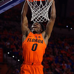 University of Florida Gators guard Mike Okauru going up for a dunk during the first half as the Gators host the Kentucky Wildcats in Exactech Arena at the Stephen C. O'Connell Center in Gainesville, Florida.  March 3rd, 2018. Gator Country photo by David Bowie.