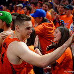 University of Florida Gators guard Egor Koulechov as the Gators celebrate defeating the Kentucky Wildcats 80-67 in Exactech Arena at the Stephen C. O'Connell Center in Gainesville, Florida.  March 3rd, 2018. Gator Country photo by David Bowie.