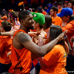 University of Florida Gators forward/center Kevarrius Hayes as the Gators celebrate defeating the Kentucky Wildcats 80-67 in Exactech Arena at the Stephen C. O'Connell Center in Gainesville, Florida.  March 3rd, 2018. Gator Country photo by David Bowie.