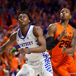 University of Florida Gators guard Keith Stone fighting for a rebound during the first half as the Gators host the Kentucky Wildcats in Exactech Arena at the Stephen C. O'Connell Center in Gainesville, Florida.  March 3rd, 2018. Gator Country photo by David Bowie.