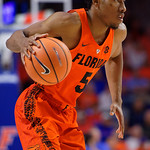 University of Florida Gators guard KeVaughn Allen dribbles up court during the second half as the Gators take on the Kentucky Wildcats in Exactech Arena at the Stephen C. O'Connell Center in Gainesville, Florida.  March 3rd, 2018. Gator Country photo by David Bowie.