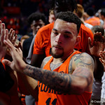 University of Florida Gators guard Chris Chiozza as the Gators celebrate defeating the Kentucky Wildcats 80-67 in Exactech Arena at the Stephen C. O'Connell Center in Gainesville, Florida.  March 3rd, 2018. Gator Country photo by David Bowie.