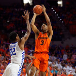 University of Florida Gators guard Jalen Hudson during the first half as the Gators host the Kentucky Wildcats in Exactech Arena at the Stephen C. O'Connell Center in Gainesville, Florida.  March 3rd, 2018. Gator Country photo by David Bowie.