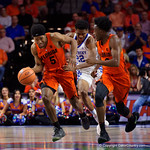 University of Florida Gators guard KeVaughn Allen steals the ball and sprints up court during the first half as the Gators host the Kentucky Wildcats in Exactech Arena at the Stephen C. O'Connell Center in Gainesville, Florida.  March 3rd, 2018. Gator Country photo by David Bowie.