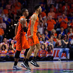 University of Florida Gators guard Jalen Hudson celebrates as the Gators build up a 14 point lead during the first half as the Gators host the Kentucky Wildcats in Exactech Arena at the Stephen C. O'Connell Center in Gainesville, Florida.  March 3rd, 2018. Gator Country photo by David Bowie.