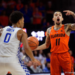 University of Florida Gators guard Chris Chiozza calling out the play during the first half as the Gators host the Kentucky Wildcats in Exactech Arena at the Stephen C. O'Connell Center in Gainesville, Florida.  March 3rd, 2018. Gator Country photo by David Bowie.