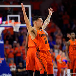 University of Florida Gators guard Chris Chiozza raises his hands into the air to say goodbye during the second half as the Gators take on the Kentucky Wildcats in Exactech Arena at the Stephen C. O'Connell Center in Gainesville, Florida.  March 3rd, 2018. Gator Country photo by David Bowie.