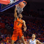 University of Florida Gators guard Jalen Hudson with a massive dunk during the first half as the Gators host the Kentucky Wildcats in Exactech Arena at the Stephen C. O'Connell Center in Gainesville, Florida.  March 3rd, 2018. Gator Country photo by David Bowie.