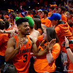 University of Florida Gators guard Jalen Hudson as the Gators celebrate defeating the Kentucky Wildcats 80-67 in Exactech Arena at the Stephen C. O'Connell Center in Gainesville, Florida.  March 3rd, 2018. Gator Country photo by David Bowie.