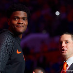 University of Florida Gators mens basketball head coach Mike White and University of Florida Gators center John Egbunu during senior day ceremonies as the Gators host the Kentucky Wildcats in Exactech Arena at the Stephen C. O'Connell Center in Gainesville, Florida.  March 3rd, 2018. Gator Country photo by David Bowie.