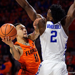 University of Florida Gators guard Chris Chiozza drives tot he basket during the second half as the Gators take on the Kentucky Wildcats in Exactech Arena at the Stephen C. O'Connell Center in Gainesville, Florida.  March 3rd, 2018. Gator Country photo by David Bowie.
