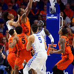 University of Florida Gators forward/center Kevarrius Hayes leaps into the air for a rebound during the first half as the Gators host the Kentucky Wildcats in Exactech Arena at the Stephen C. O'Connell Center in Gainesville, Florida.  March 3rd, 2018. Gator Country photo by David Bowie.