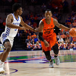 University of Florida Gators guard Keith Stone dribbles up court during the first half as the Gators host the Kentucky Wildcats in Exactech Arena at the Stephen C. O'Connell Center in Gainesville, Florida.  March 3rd, 2018. Gator Country photo by David Bowie.