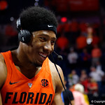 University of Florida Gators guard KeVaughn Allen giving an interview as the Gators celebrate defeating the Kentucky Wildcats 80-67 in Exactech Arena at the Stephen C. O'Connell Center in Gainesville, Florida.  March 3rd, 2018. Gator Country photo by David Bowie.