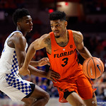 University of Florida Gators guard Jalen Hudson dribbles toward the basket during the first half as the Gators host the Kentucky Wildcats in Exactech Arena at the Stephen C. O'Connell Center in Gainesville, Florida.  March 3rd, 2018. Gator Country photo by David Bowie.