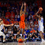 University of Florida Gators guard KeVaughn Allen on defense during the first half as the Gators host the Kentucky Wildcats in Exactech Arena at the Stephen C. O'Connell Center in Gainesville, Florida.  March 3rd, 2018. Gator Country photo by David Bowie.