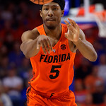 University of Florida Gators guard KeVaughn Allen passing a ball during the second half as the Gators take on the Kentucky Wildcats in Exactech Arena at the Stephen C. O'Connell Center in Gainesville, Florida.  March 3rd, 2018. Gator Country photo by David Bowie.
