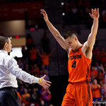 University of Florida Gators guard Egor Koulechov raises his hands into the air to say goodbye during the second half as the Gators take on the Kentucky Wildcats in Exactech Arena at the Stephen C. O'Connell Center in Gainesville, Florida.  March 3rd, 2018. Gator Country photo by David Bowie.