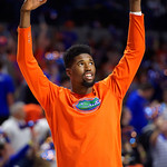 University of Florida Gators forward/center Kevarrius Hayes runs onto the court during the first half as the Gators lead 40-20 over the Vanderbilt Commodres in Exactech Arena at the Stephen C. O'Connell Center in Gainesville, Florida.  December 30th, 2017. Gator Country photo by David Bowie.