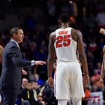 University of Florida Gators mens basketball head coach Mike White talks with his starters during the second half as the Gators win their SEC opener 81-74 over the Vanderbilt Commodres in Exactech Arena at the Stephen C. O'Connell Center in Gainesville, Florida.  December 30th, 2017. Gator Country photo by David Bowie.