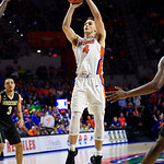 University of Florida Gators guard Egor Koulechov during the first half as the Gators lead 40-20 over the Vanderbilt Commodres in Exactech Arena at the Stephen C. O'Connell Center in Gainesville, Florida.  December 30th, 2017. Gator Country photo by David Bowie.
