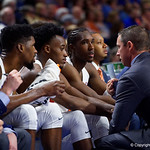 University of Florida Gators mens basketball head coach Mike White talks with his bench during the second half as the Gators win their SEC opener 81-74 over the Vanderbilt Commodres in Exactech Arena at the Stephen C. O'Connell Center in Gainesville, Florida.  December 30th, 2017. Gator Country photo by David Bowie.