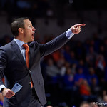 University of Florida Gators mens basketball head coach Mike White animated during the second half as the Gators win their SEC opener 81-74 over the Vanderbilt Commodres in Exactech Arena at the Stephen C. O'Connell Center in Gainesville, Florida.  December 30th, 2017. Gator Country photo by David Bowie.