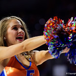 A Florida Gators cheerleader dances for the crowd during the first half as the Gators lead 40-20 over the Vanderbilt Commodres in Exactech Arena at the Stephen C. O'Connell Center in Gainesville, Florida.  December 30th, 2017. Gator Country photo by David Bowie.