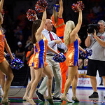 ESPN analyst Dick Vitale dancing with the Florida Gator Cheerleaders during the second half as the Gators win their SEC opener 81-74 over the Vanderbilt Commodres in Exactech Arena at the Stephen C. O'Connell Center in Gainesville, Florida.  December 30th, 2017. Gator Country photo by David Bowie.