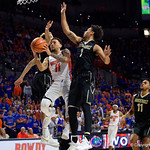 University of Florida Gators guard Chris Chiozza during the first half as the Gators lead 40-20 over the Vanderbilt Commodres in Exactech Arena at the Stephen C. O'Connell Center in Gainesville, Florida.  December 30th, 2017. Gator Country photo by David Bowie.