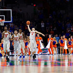 The Florida Gators run off the court as the Gators win their SEC opener 81-74 over the Vanderbilt Commodres in Exactech Arena at the Stephen C. O'Connell Center in Gainesville, Florida.  December 30th, 2017. Gator Country photo by David Bowie.