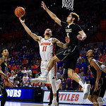 during the second half as the Gators win their SEC opener 81-74 over the Vanderbilt Commodres in Exactech Arena at the Stephen C. O'Connell Center in Gainesville, Florida.  December 30th, 2017. Gator Country photo by David Bowie.