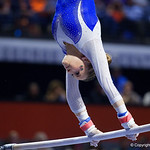 University of Florida Gators gymnist Rachel Gowey performing on the bars as the Gators host the University of Georgia Bulldogs in Exactech Arena at the Stephen C. O'Connell Center in Gainesville, Florida.  February 9th, 2018. Gator Country photo by David Bowie.